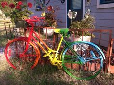 Yard Art Ideas From Plates   My Rainbow Bicycle, Bottle Tree, & Bench in Llano, Texas