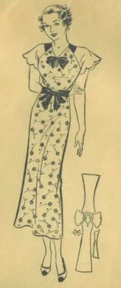 1930's dress with pattern layout