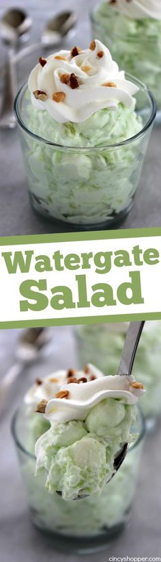Watergate Salad- super tasty and super simple to make. All that is needed is pistachio pudding, pineapple, marshmallows and some whipped topping.