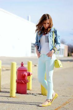 White tank top, jean cardigan, mint green skinny jeans, yellow flats.