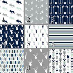 Deer in Mint Navy Baby Bedding Mint Navy Grey Premium by SuiteBaby