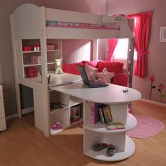 Girls loft bed - Stompa Casa Kids High Sleeper Bed in White Futon Bunk Bed, Bunk Bed With Desk, Futon Chair, Bed Couch, Bunk Bed Designs, Girl Bedroom Designs, Bedroom Ideas, Dream Rooms, Dream Bedroom