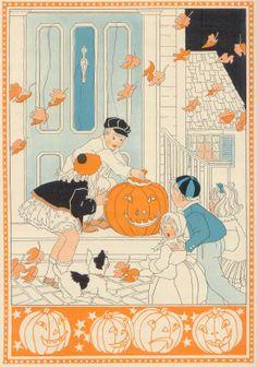 old fashioned Halloween illustration