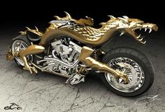 Choppers Motorcycles | Golden dragon themed chopper motorcycle