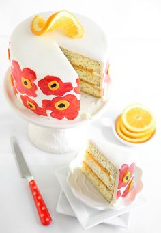 orange poppy seed marimekko cake from Sprinkle Bakes. I have no idea what most of that means except that cake is gorgeous!!