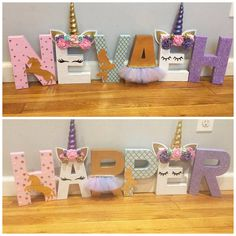 69 Ideas birthday decorations ideas for girls letters Unicorn Room Decor, Unicorn Rooms, Diy Letters, Wood Letters, Unicorn Birthday Parties, Unicorn Party, Birthday Cakes, Baby Nap Mats, Cardboard Cat House