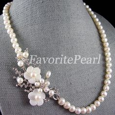 Pearl Brooch Necklace, Wedding Necklace, Flower Brooch Necklace 20.5 Inches 8-9mm - Free Shipping on Etsy, $27.00