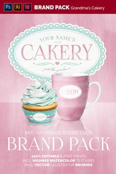 The main comps are made in Photoshop & one InDesing. As you will see, this is a very versatile pack and you can do a lot Watercolor Branding, Cupcake Photos, Texture Packs, Watercolor Texture, Shop Logo, Natural Texture, Paper Texture, Brand You, Coffee Cups