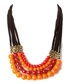 Loving this Orange & Black Suede Beaded Multistrand Necklace on #zulily! #zulilyfinds
