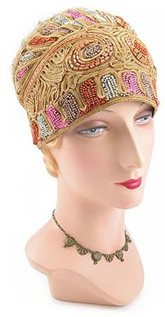 Vintage Beaded Flapper Hat