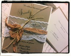 Rustic / country lace wedding Invitation by cuteNtrendy on Etsy