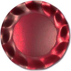 Stor Rød Satin Plastikbelagt Paptallerken - Single