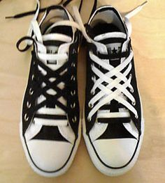 9e5a67fc758b5a Black Converse Double Uppers with white trim and black   white combination  of Straight Bar Lacing and Lattice Lacing (from Holly)