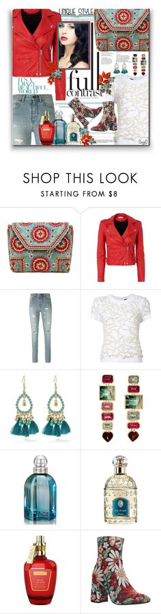 """""""LEATHER JACKET & MINI BAG: Contrasting Colors"""" by polyvore-suzyq ❤ liked on Polyvore featuring Antik Batik, IRO, Yves Saint Laurent, Vera Wang, WithChic, Whiteley, Balenciaga, Guerlain, The Merchant Of Venice and KG Kurt Geiger"""