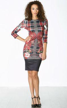 Plaid Floral Midi Dress