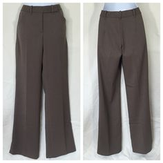 """Studio M Pants Brown Bootcut Dress Pants Studio M Pants are in good pre-loved condition. No rips, stains or tears on Bootcut pants. Hidden button, zip fly, hook and eye closure on these Bootcut dress pants.70% polyester, 27% rayon, 3% spandex. Measured. Laying flat: waist: 14"""", inseam: 33"""", rise: 9.5"""", hips: 18"""", width @ hem: 9"""".  Smoke free pet friendly home. Studio M Pants Boot Cut & Flare"""