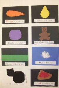 Color book made in the first weeks of school....there is a black line for the Dr. Jean  numeral song