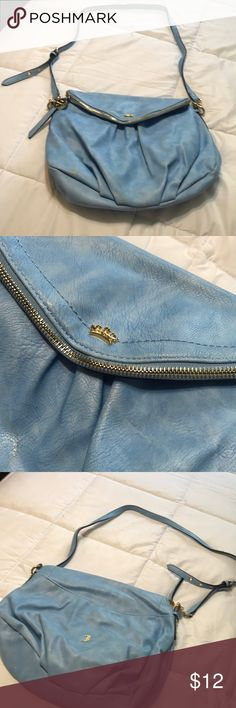 """Juicy Couture bag Has some stains but other than that it's in good condition, blue with gold hardware, measures 13""""11""""3, strap drop is 19 inches and can be made longer Juicy Couture Bags Crossbody Bags"""