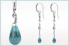 Handcrafted sterling silver drop earring with Blue Topaz briolette