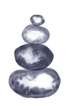 Navy Blue Dalancing Stones Canvas Art by Whales Way | iCanvas