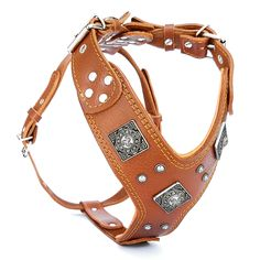 "Bestia™ genuine leather ""Eros"" harness. Old silver rivet design. Soft padded…"