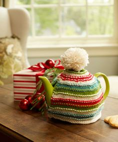 Red Heart® Soft® Holiday Teapot Cozy  #christmas #knit #pattern