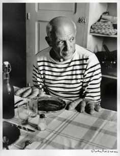 Picasso and the loaves, Vallauris 1952....I will never tire of seeing him in those striped sailor shirts