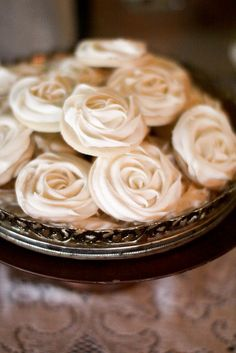 Beautiful wedding reception ideas with vintage wood boxes, old suitcases, coffee filter poms, burlap rosette cake, rose frosting cookies & more!