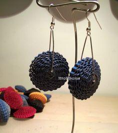 Corrugated cardboard bead earrings