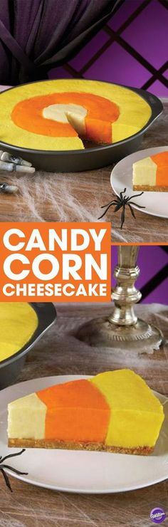 Candy Corn Cheesecake Recipe - It's the best of both worlds. A delicious cheesecake made to resemble Halloween candy corn. The magic begins with the Wilton Checkerboard Cake Pan. It allows three different color batters to be baked at the same time. Sac Halloween, Halloween Sweets, Halloween Baking, Halloween Goodies, Halloween Food For Party, Halloween Candy, Holidays Halloween, Halloween Ideas, Halloween 2017