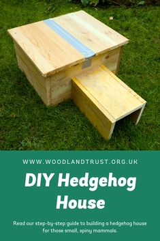 Build your very own DIY hedgehog house with help from the Woodland Trust. Read our step-by-step guide to creating a home for these small, spiny mammals. Outdoor Projects, Garden Projects, Garden Ideas, Hedgehog House Plans, Woodworking For Wildlife, Lichen Plant, Wooden Wine Crates, A Hedgehog, Grunge Room