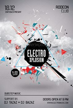 Electro Xplosion Futuristic Flyer and Poster Design Templates