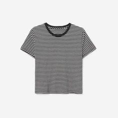 8bc62fb0ac0 The Cotton Box-Cut Tee - Black White Mini Stripe