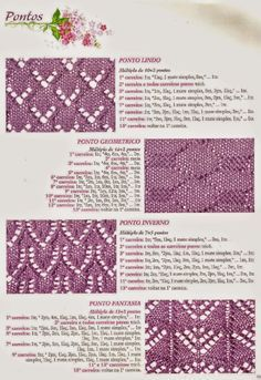 Pontos de tricô (Receita de Tricô) Knitting Paterns, Lace Knitting, Knitting Stitches, Knit Patterns, Stitch Patterns, Crochet Wool, Manta Crochet, Vintage Knitting, Sewing For Beginners