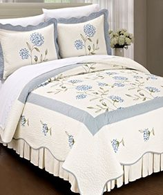 BNF Home Classic Embroidered Blue Sun Flowers 100% Cotton Bedspread Quilt Blanket 3 Pieces Bed Set(Queen) BNF Home http://www.amazon.com/dp/B00GYJE516/ref=cm_sw_r_pi_dp_8U28vb12AWV3V