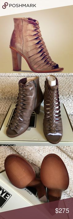 """🍁Host Pick! 🍁Frye braided leather shoes! NEW! These leather braided peep-toed shoes are brand new! 4"""" heel! Pristine condition and perfect soles! Zipper closure! Frye Shoes Heeled Boots"""