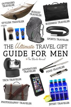 """Let's face it, sometimes men are a lot harder to shop for than women. Perhaps you're looking for that perfect travel gift for the """"guy who has everything"""" or the """"guy who needs nothing."""" With the help of some of most-traveled male friends, I've put together the ultimate travel gift guide for men so you can get some gift ideas for every type of guy."""