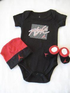 Nike Jordan Infant New Born Baby Boy/Girl Shoulder Bodysuit, Booties and Cap 0-6 Months One Set 3 Piece Set « Your Shirt List