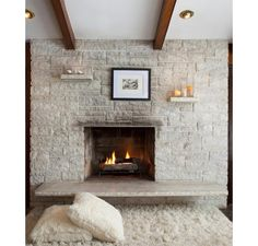 Exceptional Mid Century Modern Fireplace. Exceptional Milwaukee Midcentury Stone