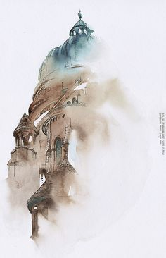 Bangkok-based Korean artist, graphic designer and illustrator Sunga Park has been travelling the world lately. Well, she's been creating soothing watercolor paintings of Watercolor City, Watercolor Landscape, Watercolor Paintings, Watercolours, Bangkok, Watercolor Architecture, Architecture Art, Residential Architecture, Architecture Sketchbook