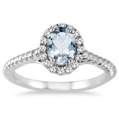 1.00 Carat Aquamarine and Diamond Halo Rope Ring in 10K White Gold