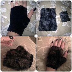 Fur fingerless gloves for lion Halloween DIY Costume: Werewolf Fox Costume, Cat Costumes, Diy Halloween Costumes, Halloween Crafts, Werewolf Costume Diy, Panda Costume Diy, Costume Ideas, Werewolf Makeup, Grease Costumes