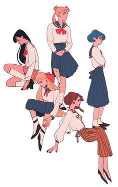 Rei Hino, Usagi Tsukino, Ami Mizuno, Minako Aino, Makoto Kino in school uniform