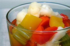 giardiniera, pickled veggies.  Use GF versions of all ingredients...  Make this for the hubby who loves these from a can...
