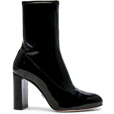 Oscar Tiye Patent Leather Giorgia Boots ($735) ❤ liked on Polyvore featuring shoes, boots, ankle boots, high heel boots, high heel bootie, patent leather bootie, side zip boots and bootie shoes