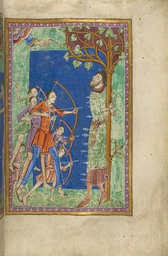 Edmund of England: Scene, Martyrdom | Miscellany on the life of St. Edmund | England, Bury St Edmunds | ca. 1130 |  The Morgan Library & Museum