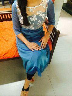 Sheer neck Salwar Neck Designs, Kurta Neck Design, Dress Neck Designs, Kurta Designs Women, Blouse Designs, Salwar Pattern, Kurta Patterns, Churidhar Designs, Kurti Sleeves Design