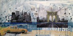 Brooklyn bridge, NY 50x100 mixed media on canvas