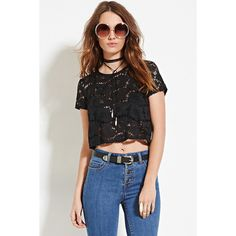 Forever 21 Women's  Floral Lace Top ($11) ❤ liked on Polyvore featuring tops, crop top, floral print crop top, forever 21, lace crop top and lacy tops