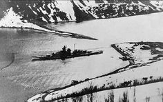 15 in battleship Tirpitz surrounded by anti-torpedo and submarine nets in Norway, where she spent most of her war, winter 1943 / 44.